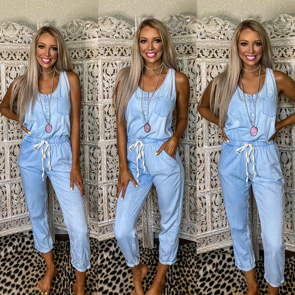Light Blue Wash Drawstring Jumpsuit - The Lace Cactus