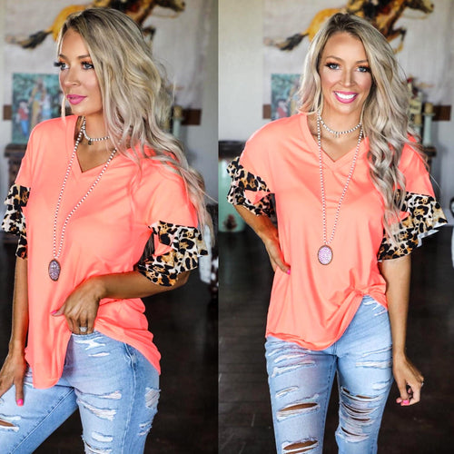 Neon Coral Leopard Bell Sleeve Top