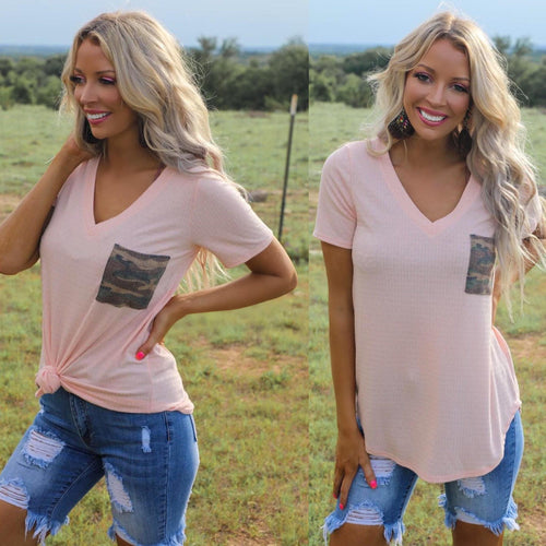 Peach Camo Pocket Ribbed V-Neck Tee
