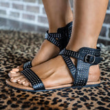 Black Studded Ankle Strap Sandals - The Lace Cactus
