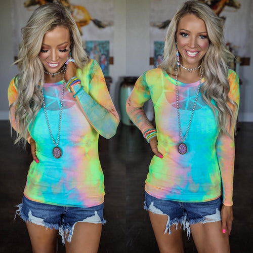 Meshed up Tie-Dye Long Sleeve Top