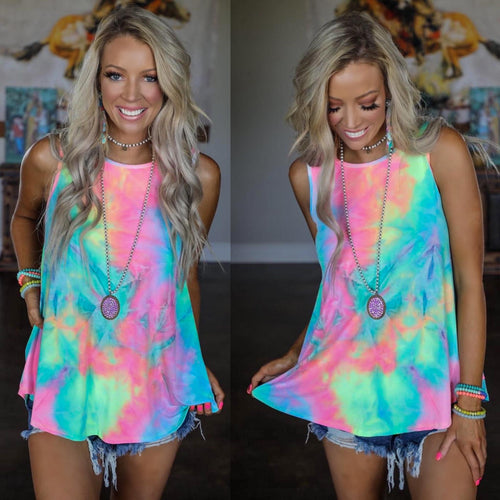 Honolulu Neon Tie-Dye Tank Top