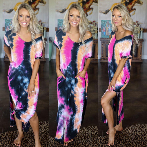 Fuchsia Blast Tie-Dye Maxi Side Slit Dress