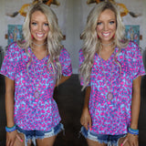 Purple and Neon Pink V-Neck Leopard Tee