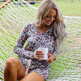 Gray Day Long Sleeve Leopard Lounge Set