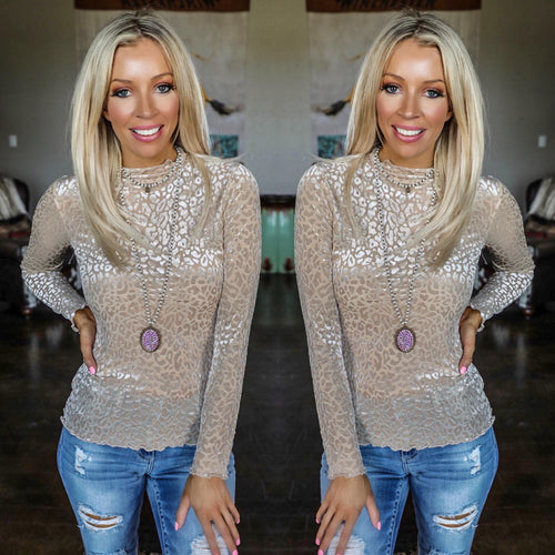 Taupe Velvet Leopard Long Sleeve Top