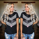 Black Leopard Sequin V-Block Tee - The Lace Cactus