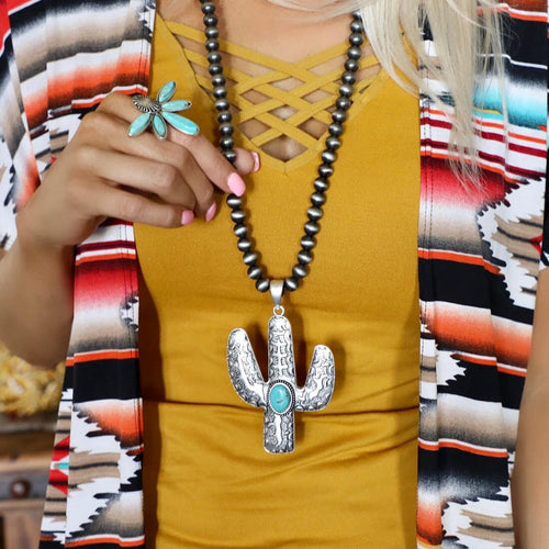 Navajo Bead Cactus Necklace