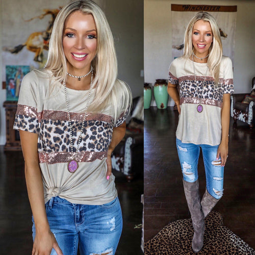 Truly Taupe Leopard Sequin Block Tee