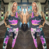 Purple, Black and White Tie-Dye Active Wear Set - The Lace Cactus