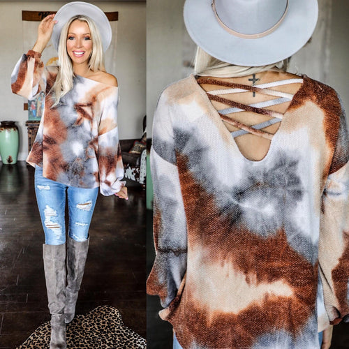 Brown Marble Bubble Sleeve Top