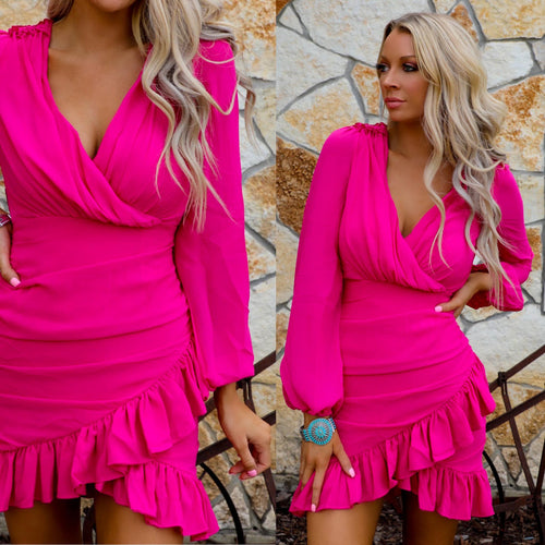 Fuchsia Fever Ruffle Hem Dress