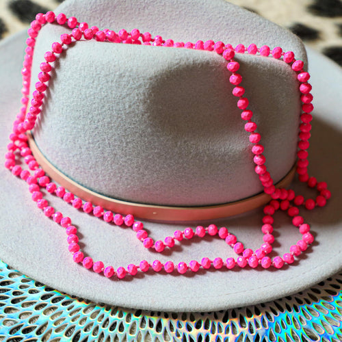 60'' Hot Pink Beaded Necklace