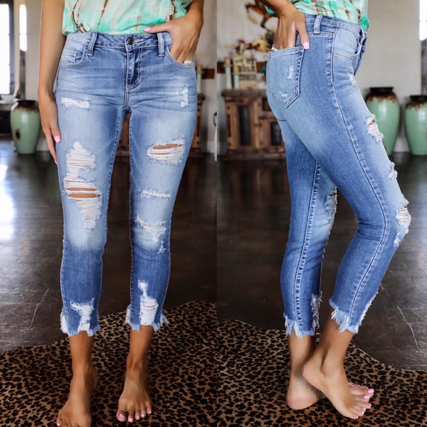 Gaslighter Distressed Jeans - The Lace Cactus