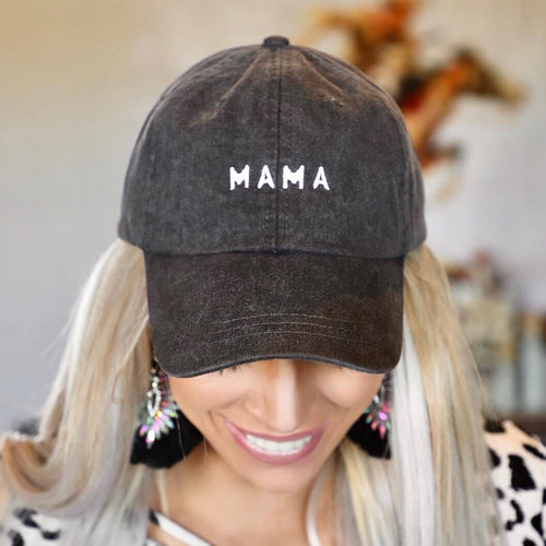 "Vintage Charcoal ""Mama"" Hat"