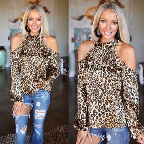 The Sassy Satin Leopard Cold Shoulder Top - The Lace Cactus