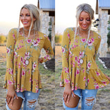 Madison Mustard Floral Tiered Tunic - The Lace Cactus