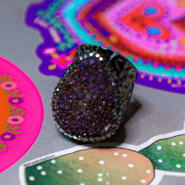 Hammered Gunmetal Druzy Ring - The Lace Cactus