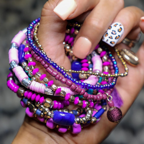 Purple Obsessed Assorted Bead Stack Bracelets - The Lace Cactus