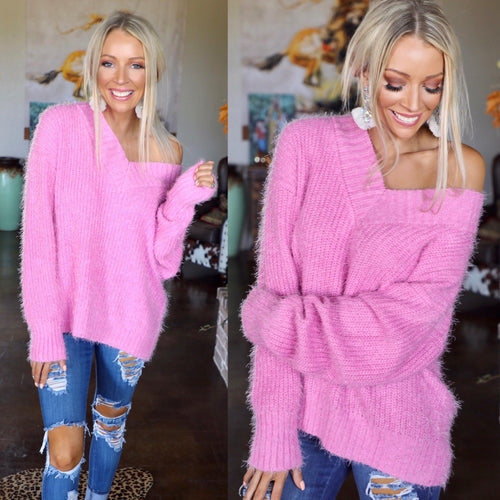 Bubblegum Pink Fuzzy V-Neck Sweater - The Lace Cactus