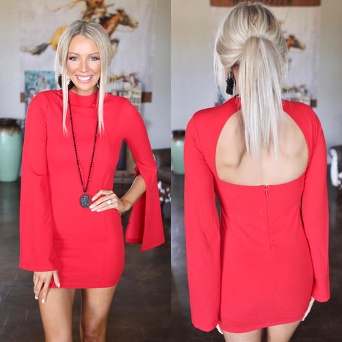Burnin' Love Red Split Sleeve Dress - The Lace Cactus