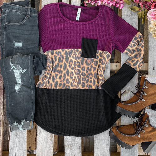 Burgundy Leopard Waffle Block Top - The Lace Cactus