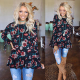 Black Sunflower Ruffle Hem Top