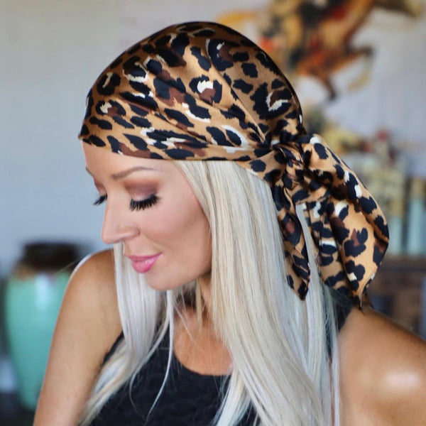 Satin Leopard Scarf Headwrap - The Lace Cactus