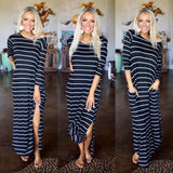 Black + Ivory Striped Long Sleeve Maxi Dress