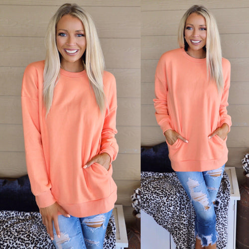 Oversize Peach Pocket Sweatshirt