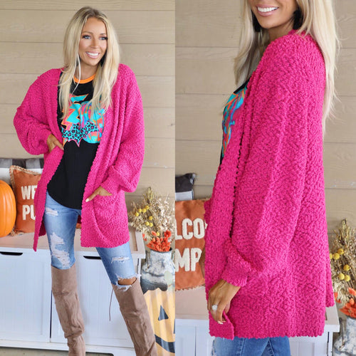 {PLUS} Hot Pink Popcorn Cardigan