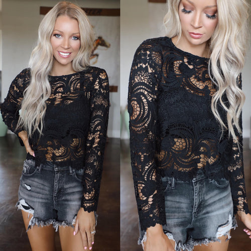 Lost in Black Crochet Long Sleeve Top - The Lace Cactus