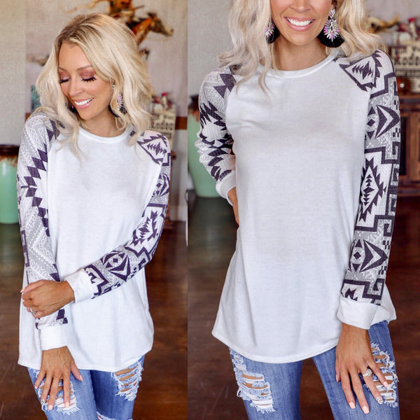 White + Navy Tribal Sleeve Raglan Top - The Lace Cactus