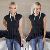 Peplum Black Top - The Lace Cactus