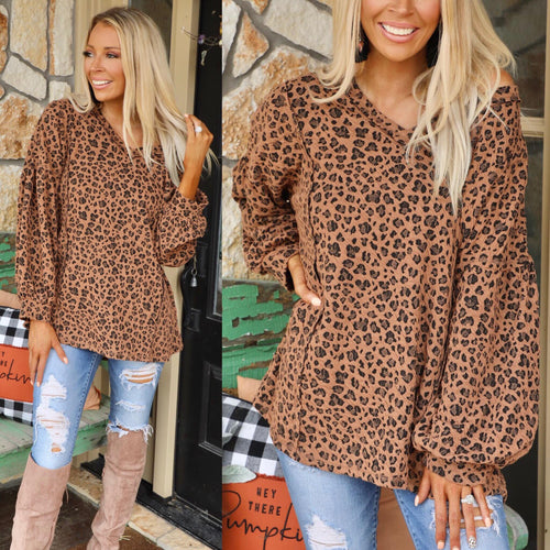Rose Clay Leopard Knit Bubble Sleeve Top