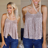 Rose Gold Sequin Spaghetti Strap Tank Top - The Lace Cactus