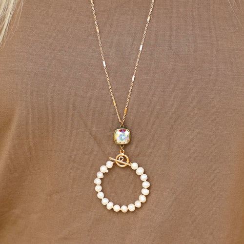 Pink Panache Gold Chain Pearl Circle Necklace