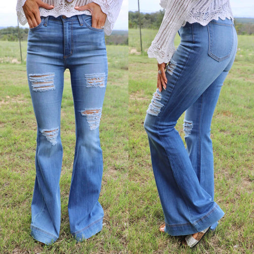 Flash Blue High Rise Wide Hem Flare Jeans - The Lace Cactus