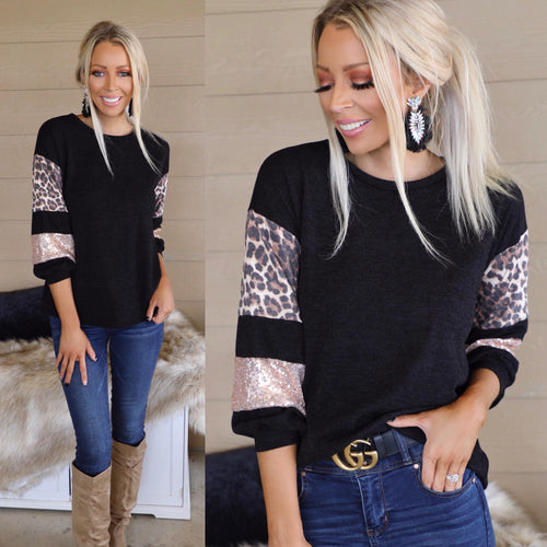 Black Leopard + Sequin Contrast Sleeve Top