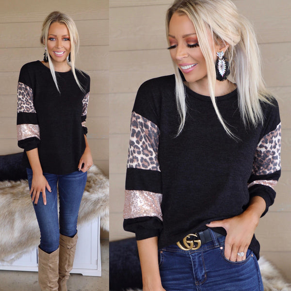 Black Leopard + Sequin Contrast Sleeve Top - The Lace Cactus