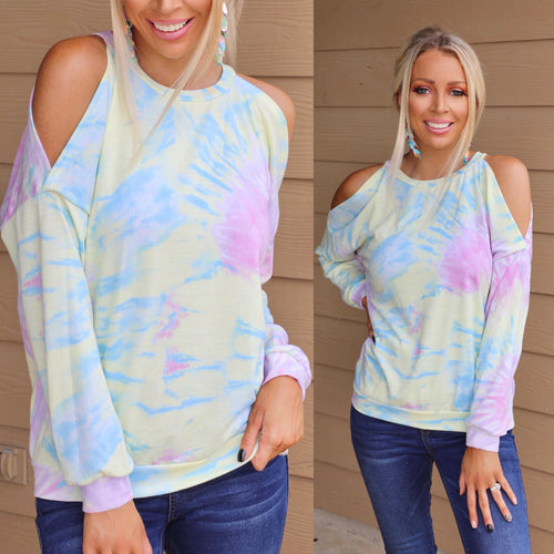 Lemon Sherbert Tie-Dye Cold Shoulder Top