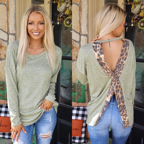 Light Moss Leopard Keyhole Back Top