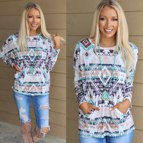 Rustic Tribal Front Pocket Long Sleeve Top