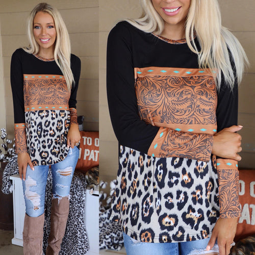 Crazy Train Tooled Leather leopard Block Top