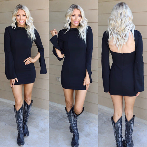 Little Black Open Back Bell Sleeve Dress