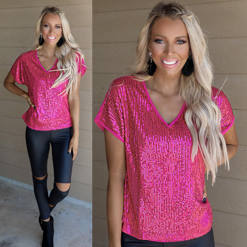 Hot Pink V-neck Sequin Tee - The Lace Cactus