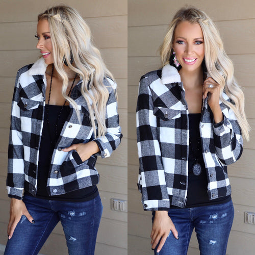 Black + White Buffalo Plaid Jacket - The Lace Cactus