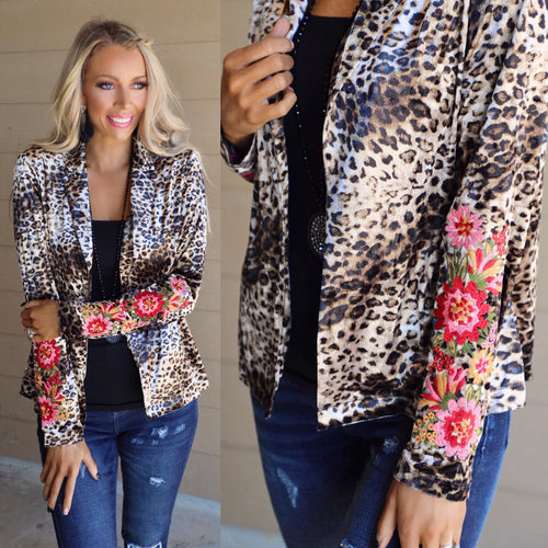SJ Velvet Leopard Floral Embroidered Blazer - The Lace Cactus