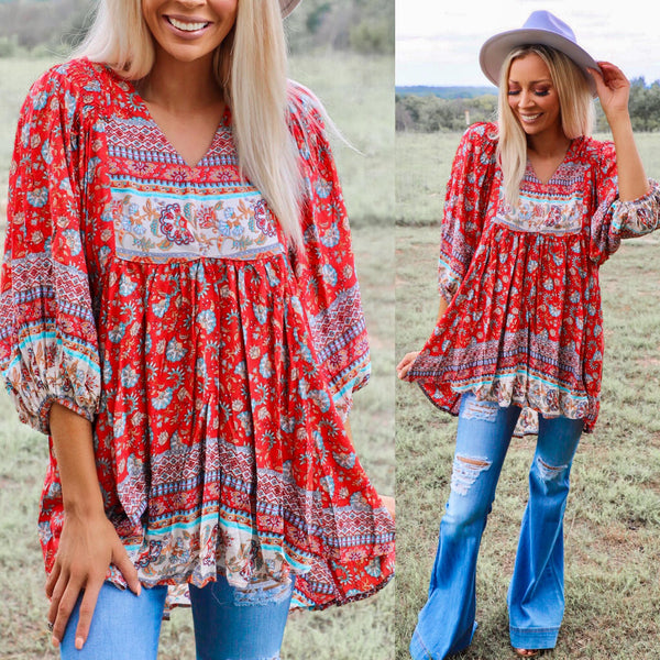 Red Crimson Paisley Mix Boho Top - The Lace Cactus