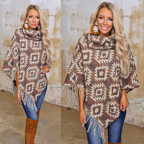 Brown Aztec Fringe Poncho - The Lace Cactus